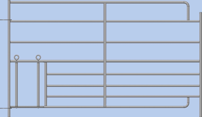 Steckfix-Horde XL mit Lämmerschlupf 8 Rohre, B= 1,83 m, Höhe 1,10 m