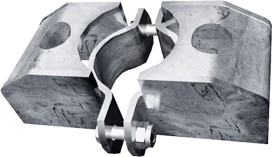Schelle d=76 mm, 2 Riegelhalter TS parallel