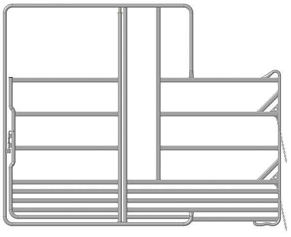Sicherheits-Pferde-Panel mit Tor und Fressgitter, 3,60 m, 1 Fressplatz