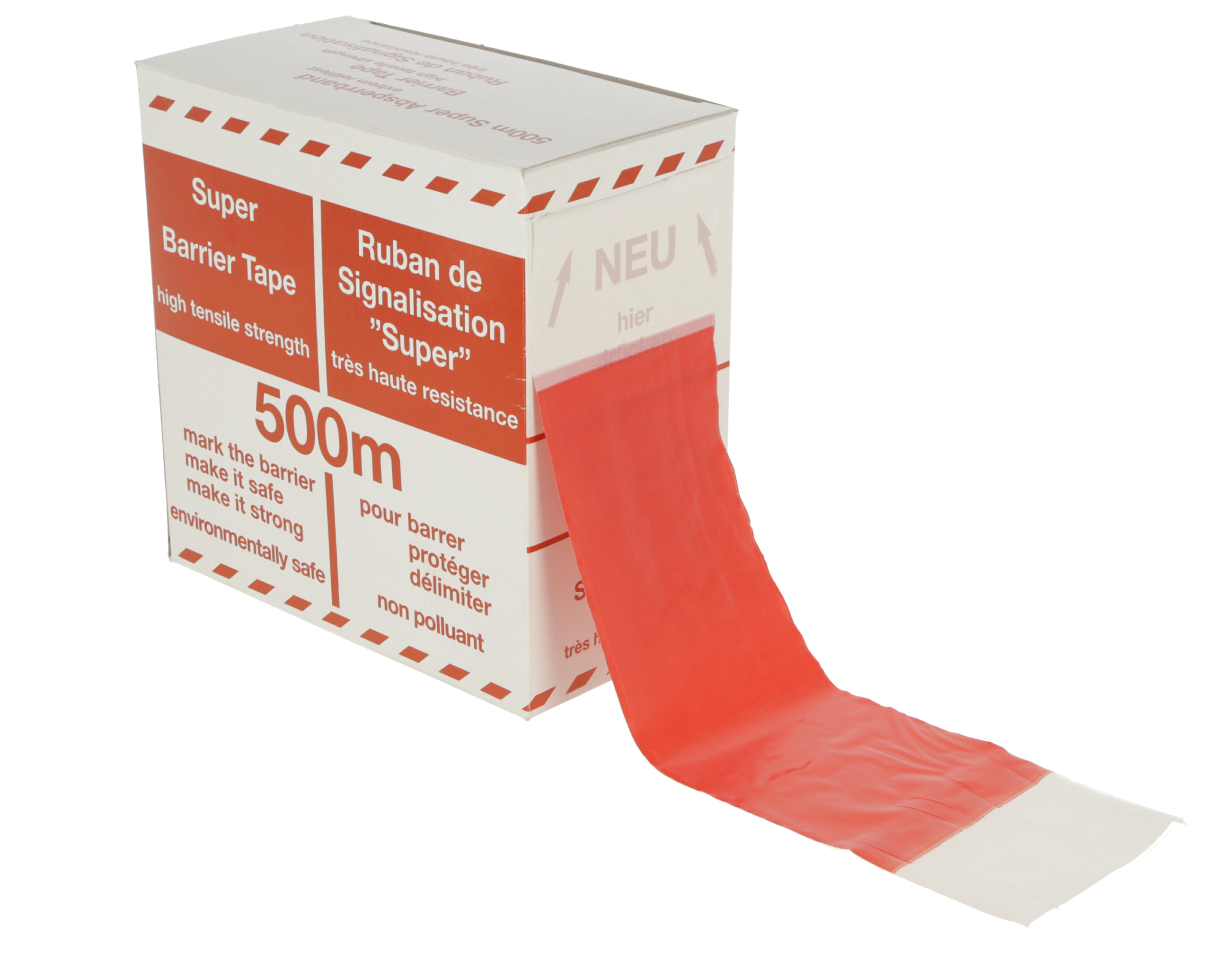 Folien-Absperrband 100m x 80mm rot-weiß geblockt, Abrollbox