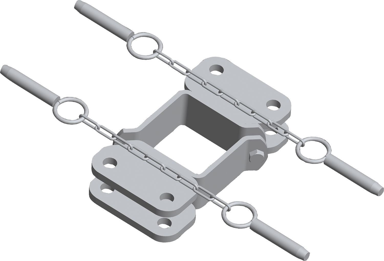 Schelle Quadrat 90 mm, 4 Halter, parallel, vz