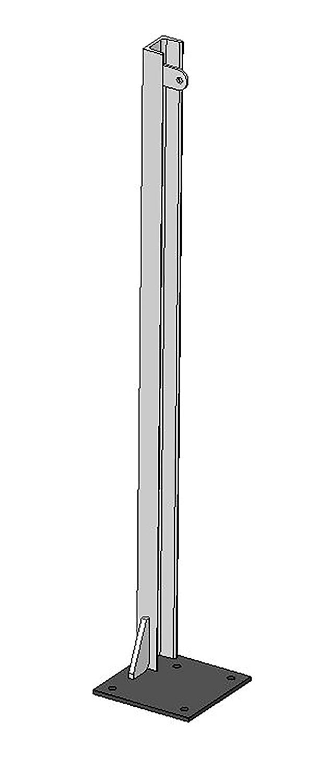 U-Profil für Holzbohlen, L= 1,20 m, Bodenplatte links 200x200x8 mm, vz