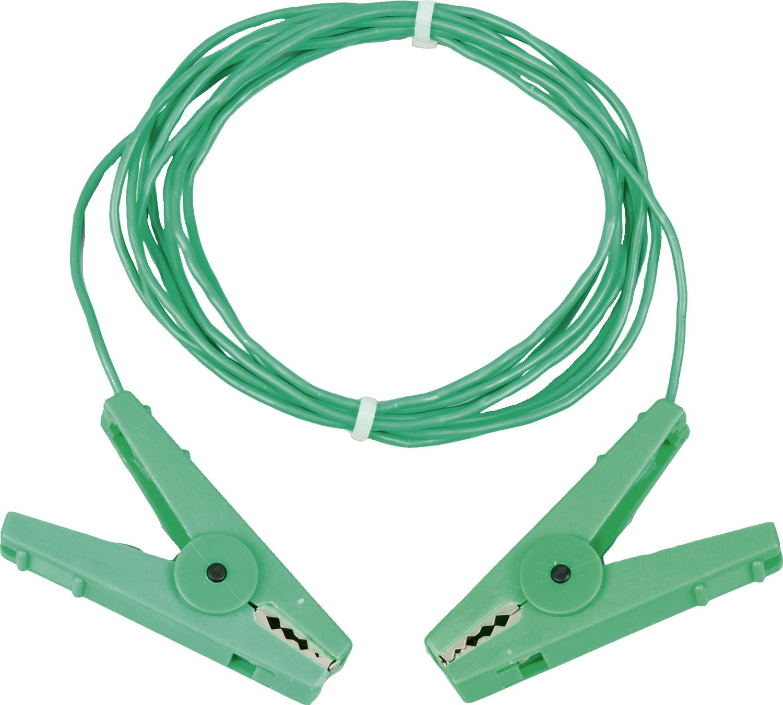 Erdstab-Verbindungskabel 3 m, grün mit Edelstahl-Klemmen