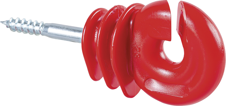 Qualitäts-Ringisolator, mit Holzgewinde, rot, 6 mm Schaft (25 Stück/Pack)