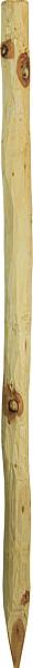 Robinienpfahl, rund, d= 6-8 cm, gefast, 4-fach gespitzt, entrindet