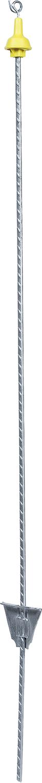 Federstahlpfahl rund, 1,00 m, mit Metallöse, silber, gelber Isolator