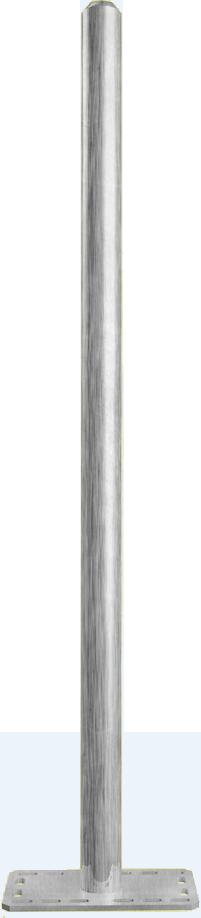 Pfosten d=76 x 3,6 mm, mit Bodenplatte, vz