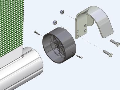 J-Halter mit Abweiser für WS-Rollos u. Schnelllauftor (Paar) für 100 mm Rohre