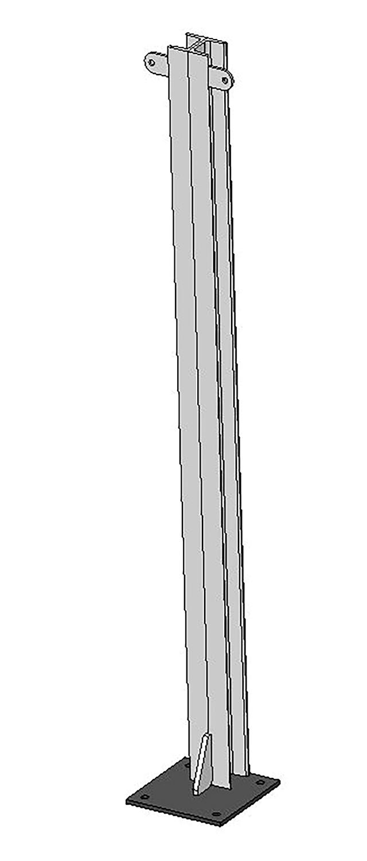 U-Profil für Holzbohlen, L= 1,45 m, doppelt, Bodenplatte, vz