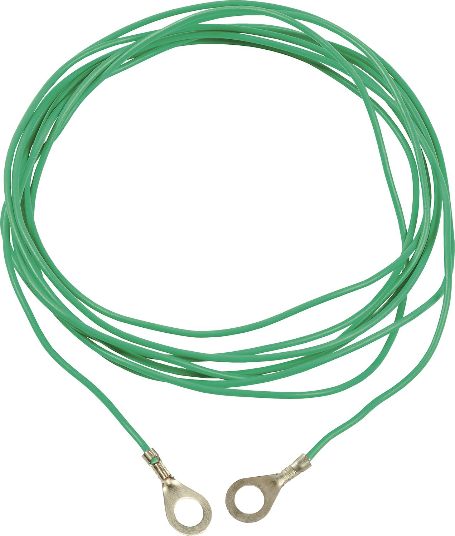 Erdstab-Verbindungskabel 3 m, grün mit Ringösen 8 mm