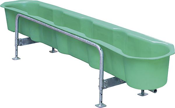 Futtertrog für Kälber, 2,18 m PE mit Eimeraussparungen, höhenverstellt