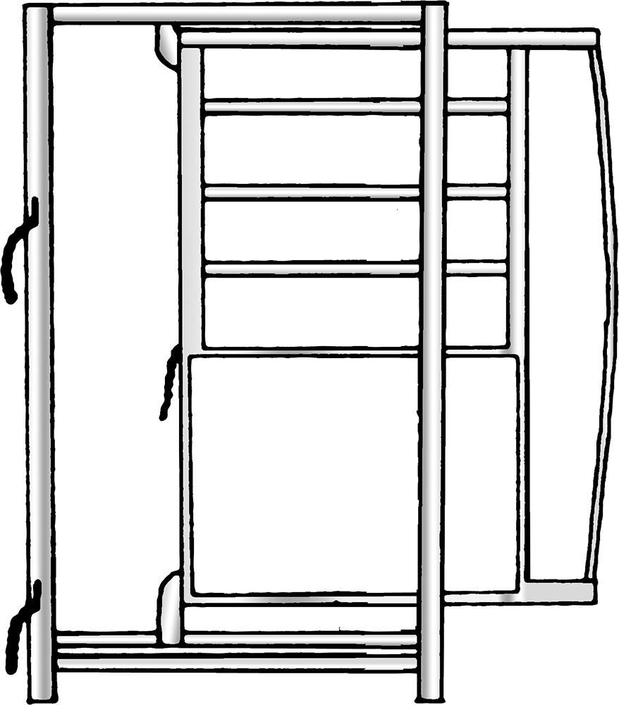 Rahmen mit Schiebetüre, Breite 0,90 m, Höhe 2,05 m, vz