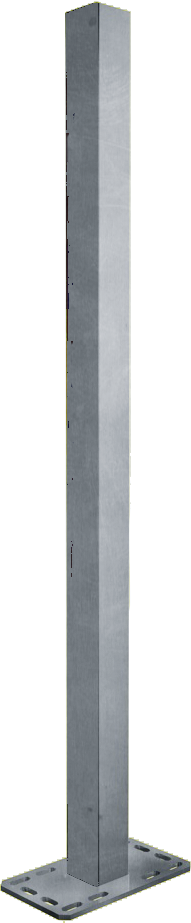 Pfosten Quadrat 90 mm, L= 1,65 m mit Bodenplatte für Spaltenboden
