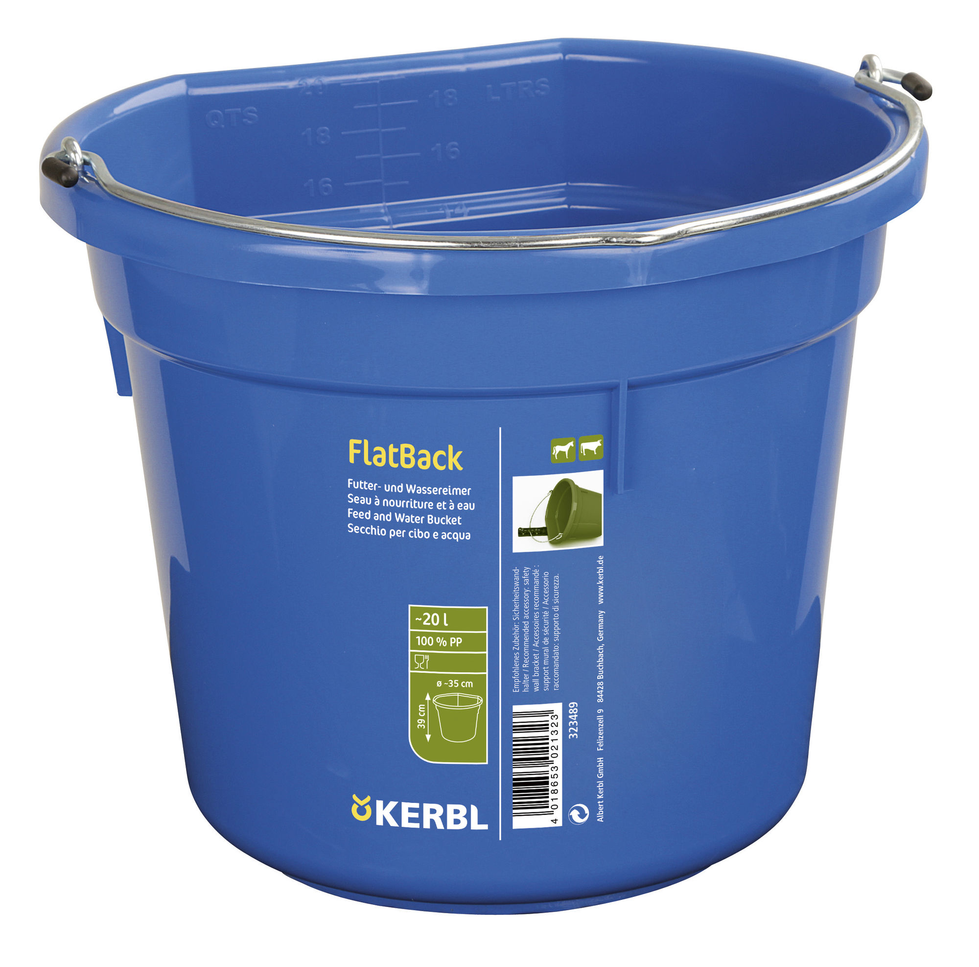 FlatBack, blau, ca. 20ltr., Futter-u. Wassereimer