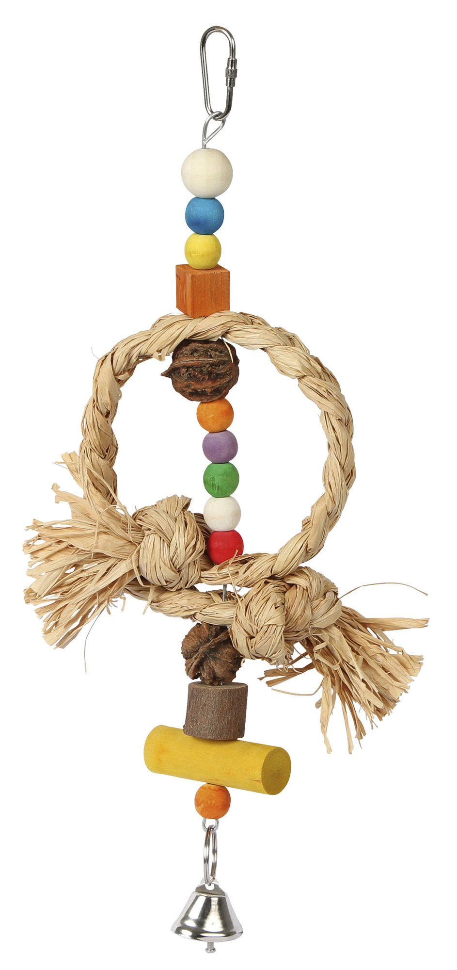 Vogelspielzeug Nature mit Glocke u. Bast, Höhe 36 cm