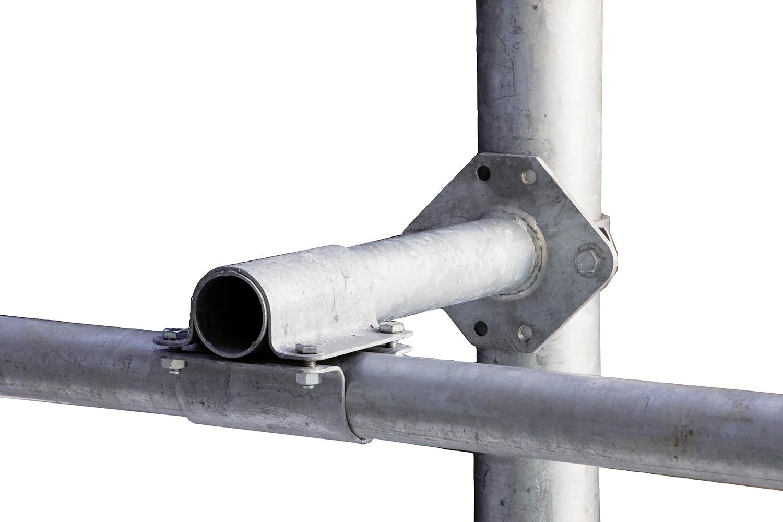 Abstandhalter für Nackenrohr an Pfosten mit d=102 mm, inkl. 2 Bügelschrauben